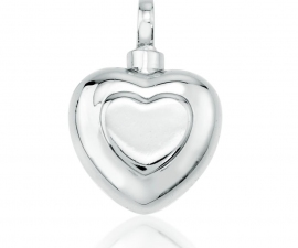 Double Heart Silver Cremation Pendant