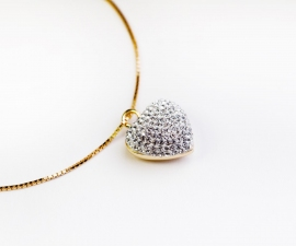 Gold Swarovski Style Crystal Heart Ashes Pendant.