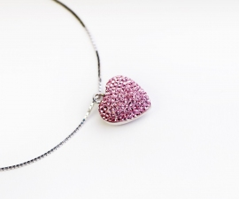 Pink Swarovski Style Crystal Heart Ashes Pendant.