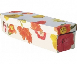 Cardboard Coffin Flower Theme